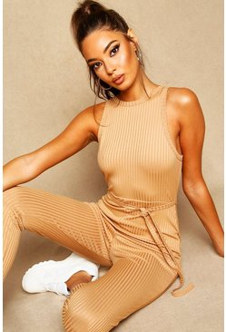 Butterscotch brown Racer Front Ribbed Unitard
