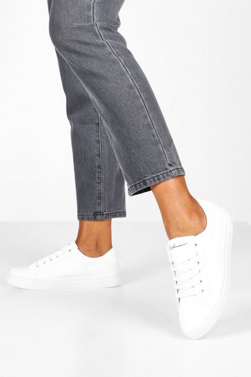 White Basic Lace Up Flat Trainers