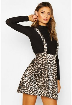 Brown Leopard Print Pinafore Skirt