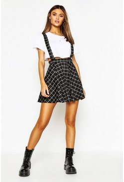Black Grid Check Pinafore Skirt