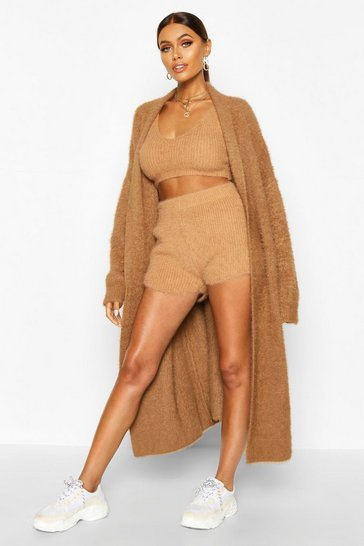 Toffee beige Premium Oversized Fluffy Knit Maxi Cardigan