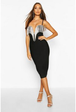 Black Boutique Bandage Plunge Full Diamante Midi Dress