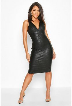 Black Boutique Plunge Wet Look Bandage Midi Dress