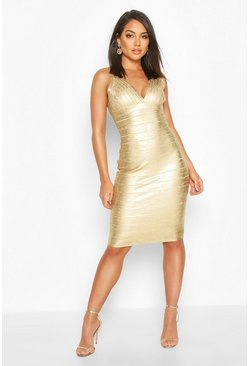 Gold metallic Boutique Plunge Wet Look Bandage Midi Dress