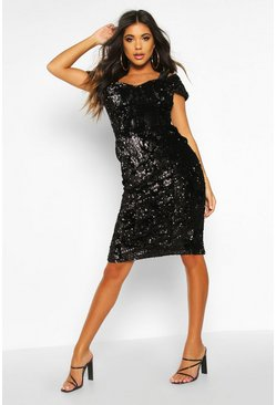 Black Velvet Sequin Cupped off the Shoulder Midi Dress