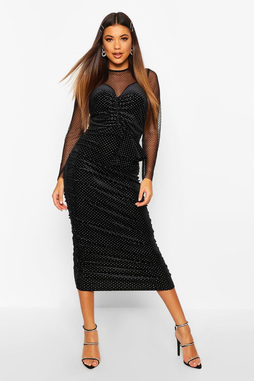 Long Sleeve Dresses Mesh/Velvet Studded Midi Dress