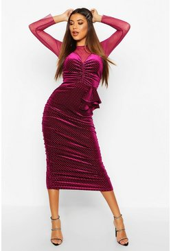 Raspberry pink Mesh/Velvet Studded Midi Dress