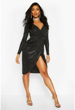 Black Sequin Wrap Plunge Midi Dress
