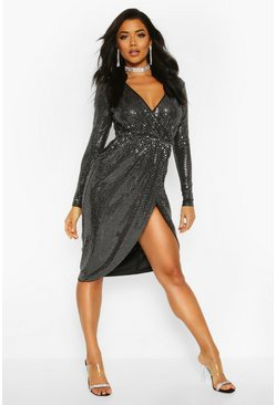 Silver Sequin Wrap Plunge Midi Dress