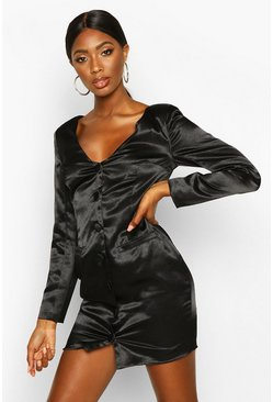 Black Satin Off The Shoulder Button Detail Blazer Dress