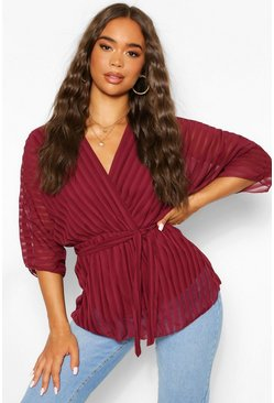 Berry red Sheer Stripe Wrap Belted Blouse