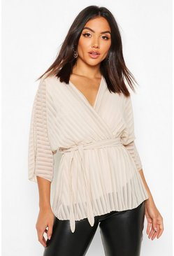 Ecru white Sheer Stripe Wrap Belted Blouse
