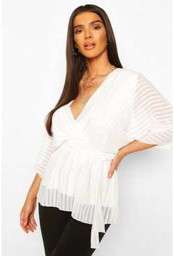 White Sheer Stripe Wrap Belted Blouse