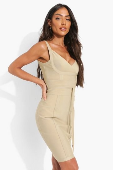 Champagne beige Boutique Bandage Tie Detail Mini Dress