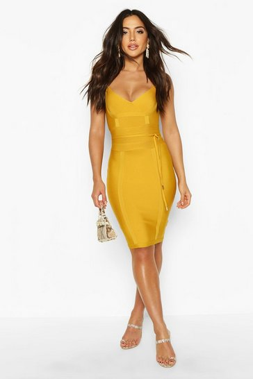 Mustard yellow Boutique Bandage Tie Detail Mini Dress