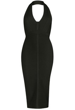 Black Boutique Bandage Plunge Midi Dress