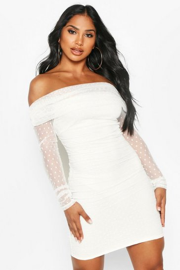 White Dobby Off Shoulder Long Sleeve Mini Dress