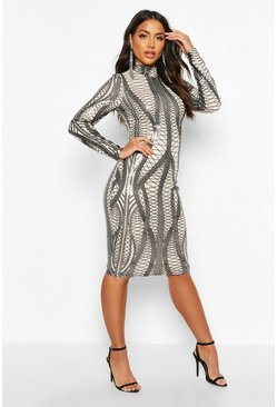 Black Mesh Sequin High Neck Long Sleeve Midi Dress