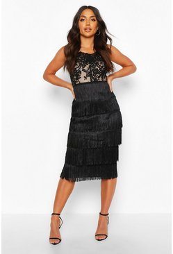 Black Sequin Lace Tassel Detail Midi Dress