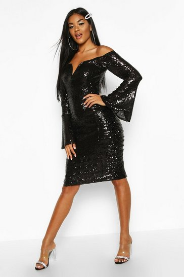 Black Sequin Flare Sleeve Rouched Side Midi Dress