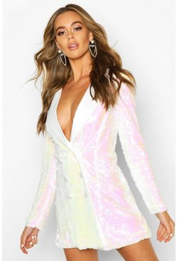 White Sequin Satin Detail Blazer Dress