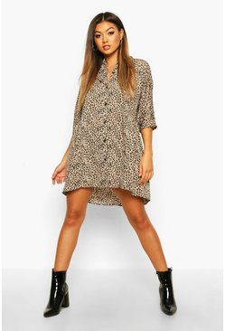 Natural Leopard Button Through Smock Dress