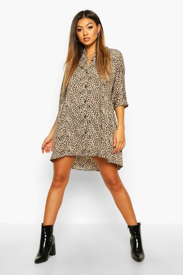 Natural beige Leopard Button Through Smock Dress