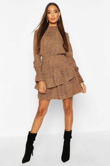 Stone beige Woven Sheered Neck Ruffle Detail Skater Dress