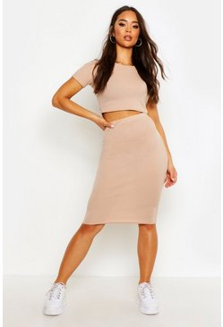 Taupe Rib T-Shirt And Midi Skirt Co-ord Set