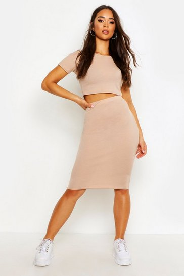 Taupe beige Rib T-Shirt And Midi Skirt Co-ord Set