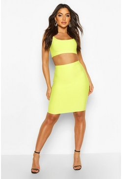 Lime green Bandage Midi Skirt