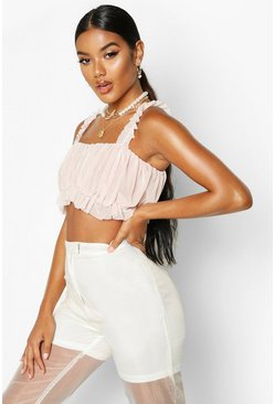 Nude Mesh Ruched Crop Top