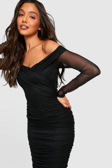Black Off Shoulder Ruched Mesh Bodycon Midi Dress