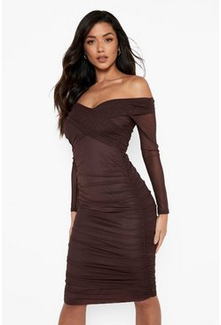 Chocolate brown Off Shoulder Ruched Mesh Bodycon Midi Dress