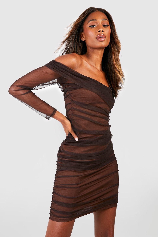 Femme mesdames taille nœud plissée froncée sans manches col v moulante midi robe top