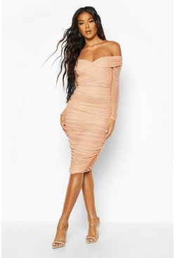 Nude Off Shoulder Ruched Mesh Bodycon Midi Dress