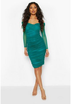 Teal green Off Shoulder Ruched Mesh Bodycon Midi Dress