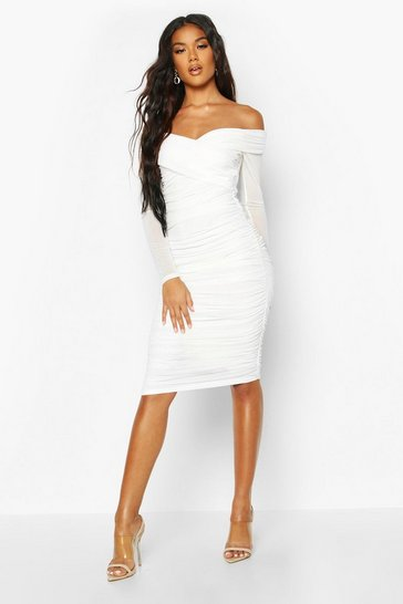 White Off Shoulder Ruched Mesh Bodycon Midi Dress