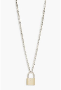 Multi Contrast Padlock Chain Necklace