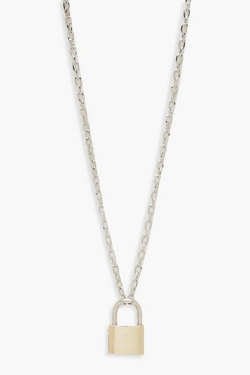 Multi Contrast Padlock Chain Necklace