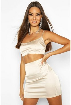 Champagne beige Stretch Satin Mini Skirt