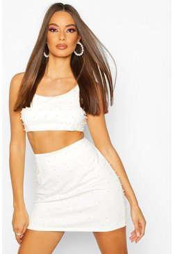White All Over Pearl Embellished Mini Skirt
