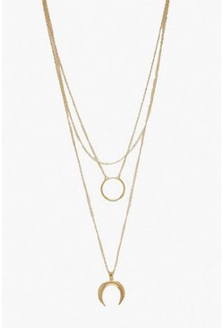 Gold metallic Circle & Horn Layered Necklace