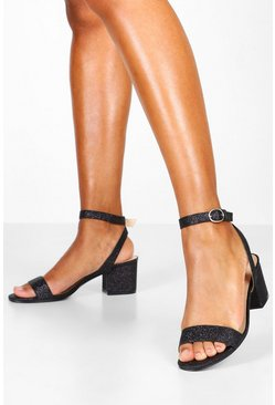 Black Glitter Block Heel 2 Parts