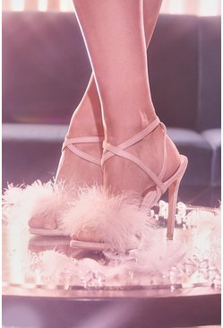 Blush pink Feather Trim 2 Part Stilettos