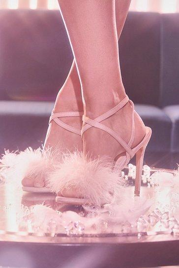Blush pink Feather Trim 2 Part Stilettos