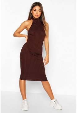 Chocolate brown Ribbed Racer Front Midi Bodycon Dress