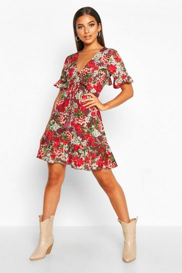 Plum purple Floral Print Ruffle Front Tea Dress
