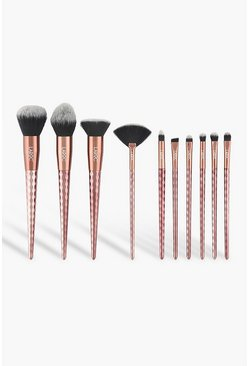 Bronze metallic LaRoc 10 Piece Rose Gold Diamond Brush Set