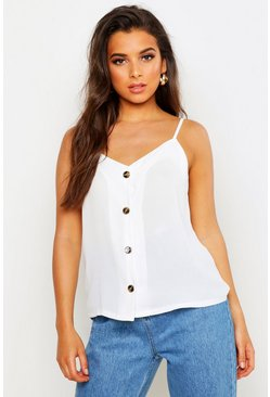 White Button Front Woven Cami Top